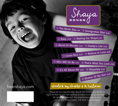 Shaya - The Album - Back Cover